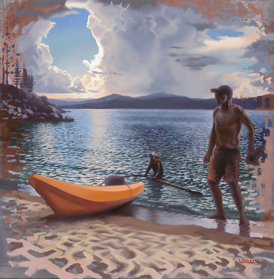 """The Kayakers"". Oil on Panel. 23.25""x23.75"""