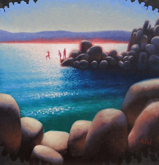 """Sand Harbor Study (4)"". By Adam Wexelblatt. Oil on Panel. 12""x12"""