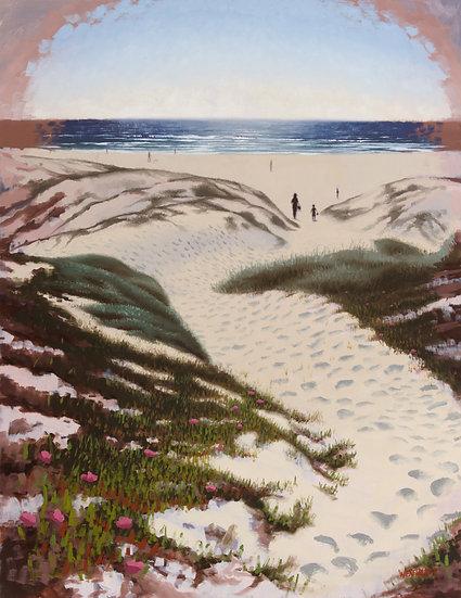 """The Strollers"". By Adam Wexelblatt. Oil on Panel. 28""x36"""