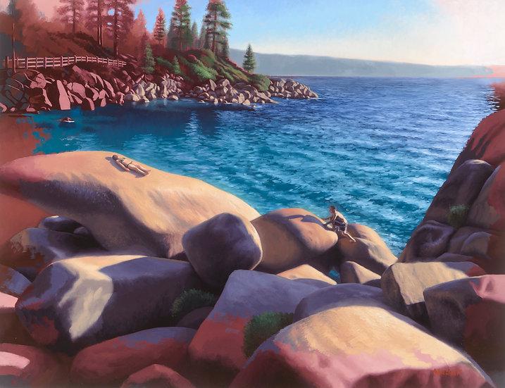 """""""The Sunbathers (2)"""". Oil on Panel. 24""""x36"""""""