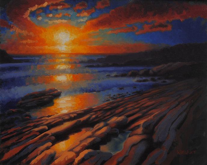 """""""Fire on The Ocean"""". By Adam Wexelblatt. Oil on Panel. 16""""x20"""""""