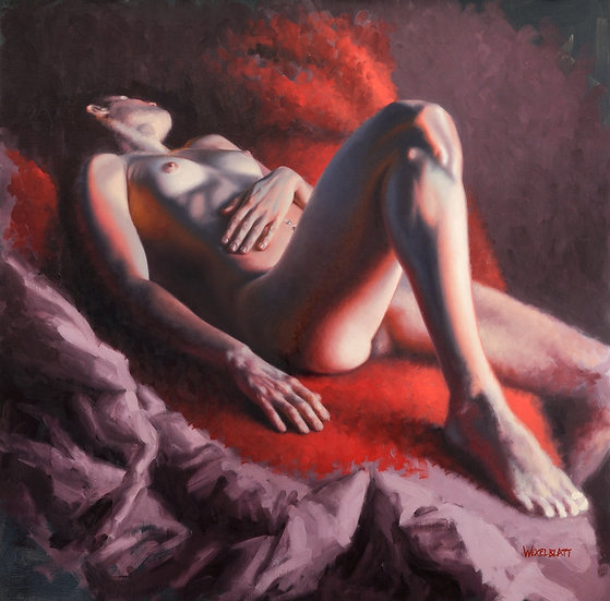 """Saturday Morning (3)"". By Adam Wexelblatt. Oil on Panel. 24""x24"""