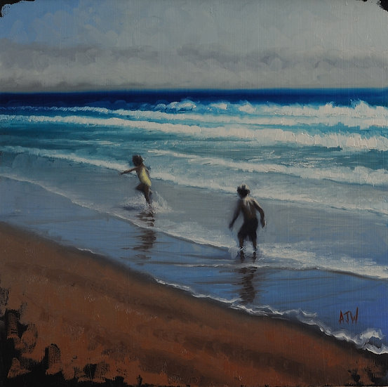 """Splashers Study (3)"". By Adam Wexelblatt. Oil on Panel. 12""x12"""