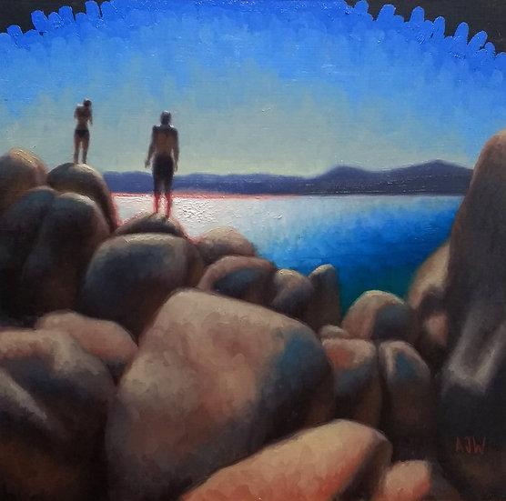 """Sand Harbor Study (2)"". By Adam Wexelblatt. Oil on Panel. 12""x12"""