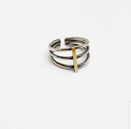 Ribcage Ring - Sterling Silver & Brass
