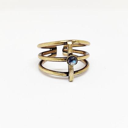 Ribcage Ring w/ Moonstone - Brass