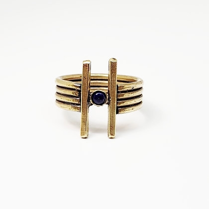 Double Dagger Ring - Brass w/ Lapis Lazuli