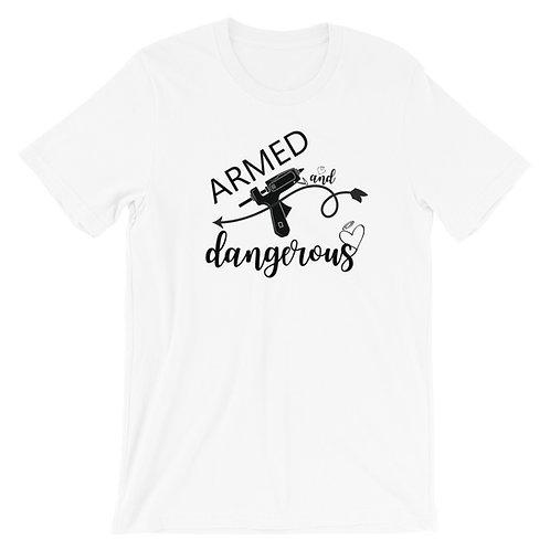 Armed and Dangerous Shirt, Wreath Shirt, Craft Shirt, T-Shirt. Casual Tops, Plus