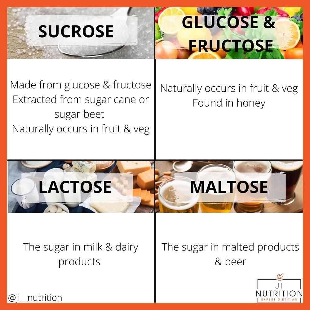 sugar sucrose glucose frutose lactose maltose