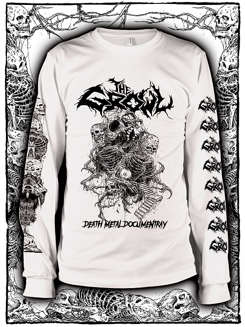 THE GROWL (WHITE  LONG SLEEVE WITH BLACK INK) OLD design
