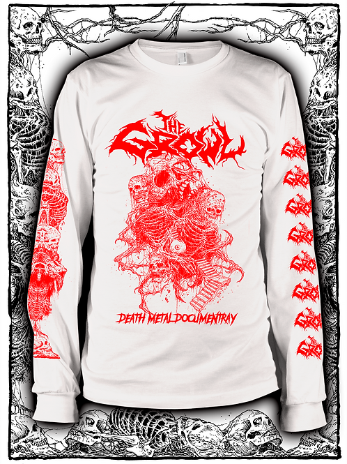 THE GROWL (WHITE  LONG SLEEVE WITH RED INK) OLD design