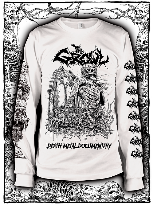 THE GROWL (WHITE  LONG SLEEVE WITH BLACK INK) new design