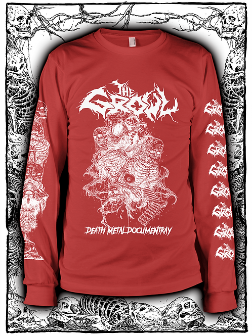 THE GROWL (RED  LONG SLEEVE WITH WHITE INK) OLD design