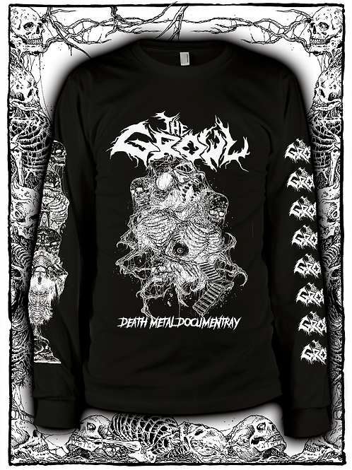 THE GROWL (BLACK  LONG SLEEVE WITH WHITE INK) OLD design