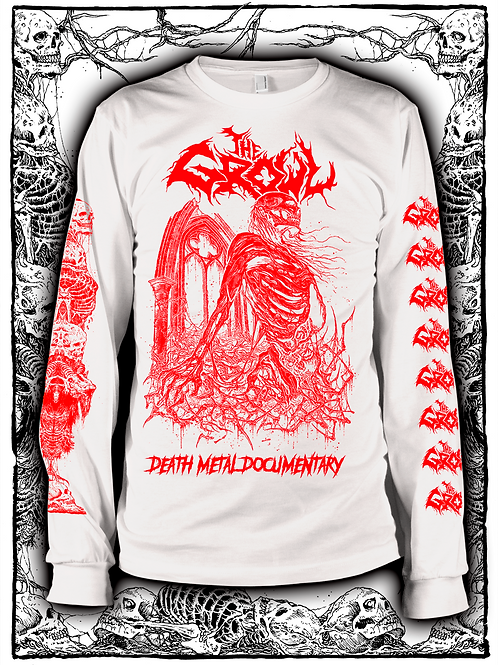 THE GROWL (WHITE  LONG SLEEVE WITH RED INK) new design