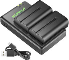 Neewer NP F550 Battery Charger Set for Sony NP F970,F750,F770,F960,F550,F530,F330,F570,CCD-SC55,TR516,TR716,TR818,TR910,TR917 and more (2-Pack Replacement Battery Kit, Dual Slot Charger)