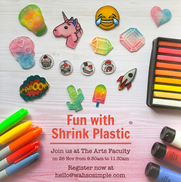 Craft Workshop: Fun With Shrink Plastic at The Art Faculty