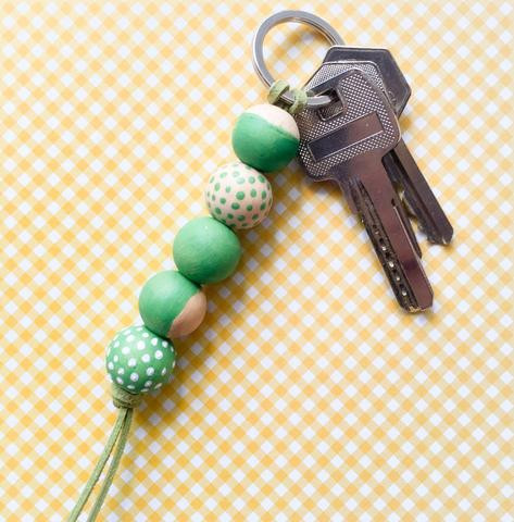 wahsosimple diy craft wooden beads keychain