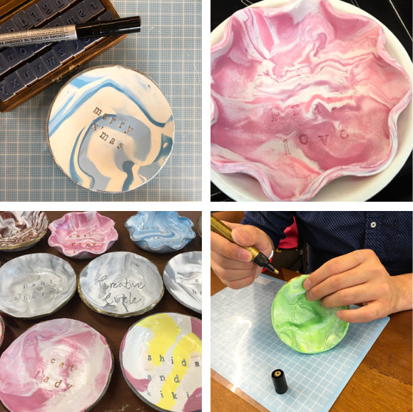 wahsosimple workshop marbled clay dish