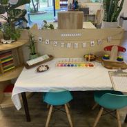 Mathematics exploration table in Preschool Room.
