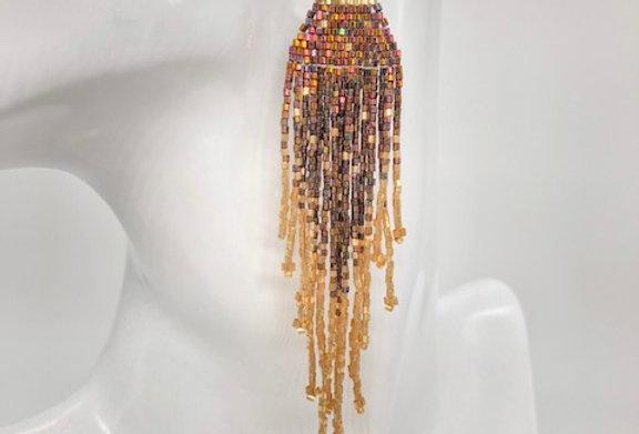 Beaded earrings - Iridescent Burgundy & Gold Hexagonal