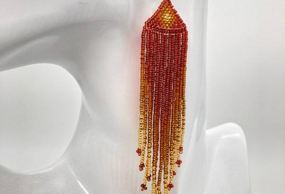 Beaded earrings - Umber & Gold