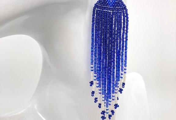 Beaded earrings - Cobalt blue