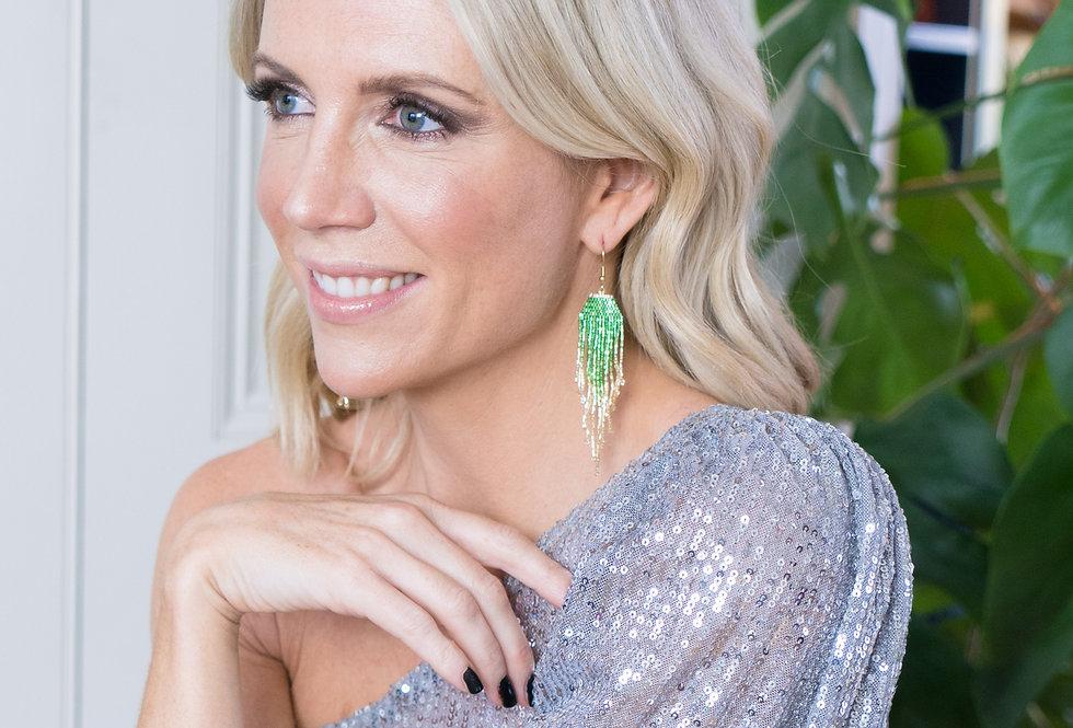 Beaded earrings - Green Shimmer Hex to Gold