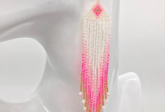 Beaded earrings - White, Pink & Gold
