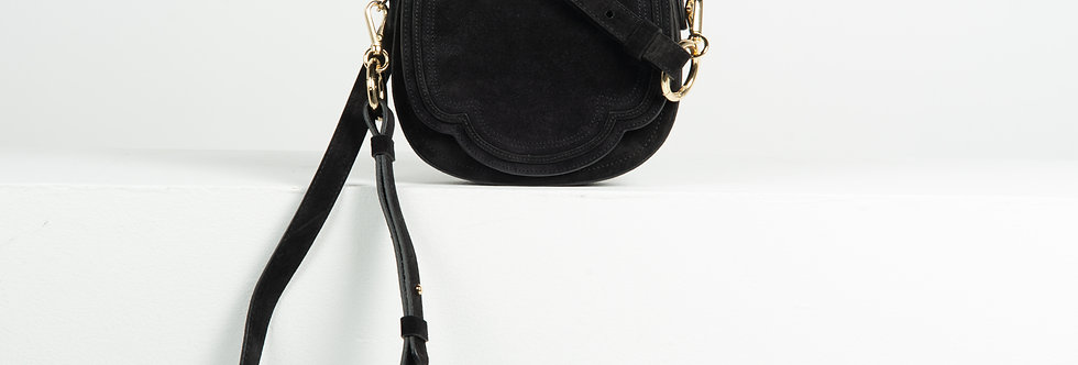 Mini Luna crossbody - black suede