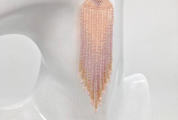 Beaded earrings - Pastel Pink, Lilac & Bronze