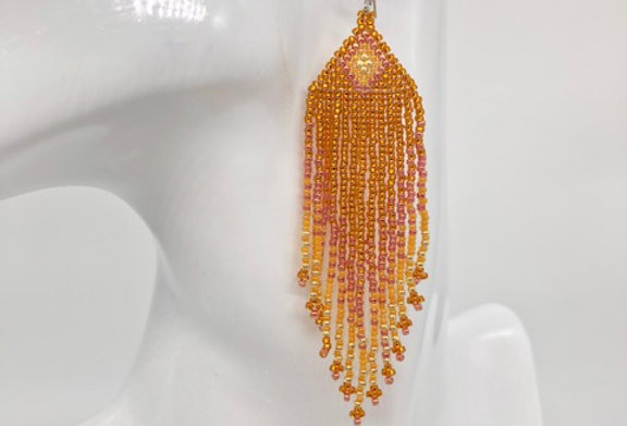 Beaded earrings - Cognac & Gold