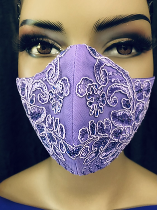 Lavender Beaded Lace Mask