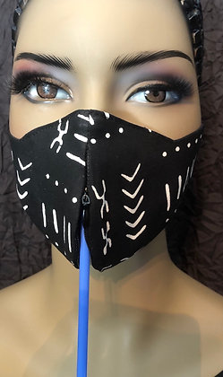 Invisible Zipper Mud Cloth Print Mask