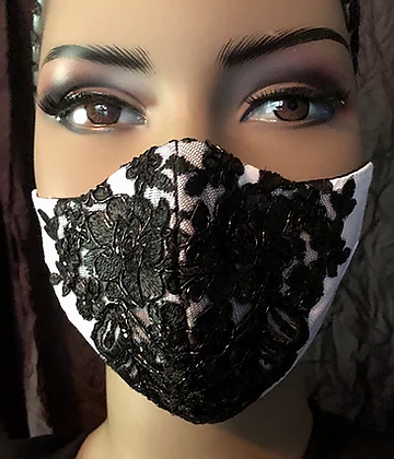 White Mask with Black Beaded Lace Applique