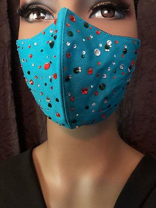 Turquoise Rhinestoned Mask