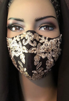 Black Face Mask w/ Gold Bead & Sequin Lace