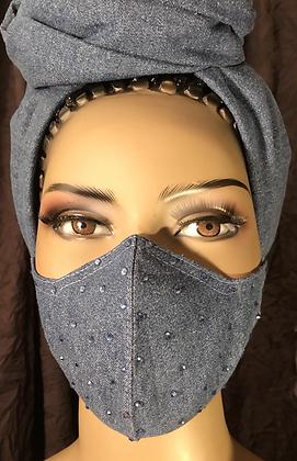 Light Denim Rhinestoned Face Mask