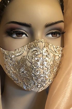 Gold Sequin Lace Mask