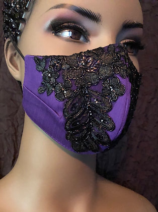 Purple w/ Black Beaded Lace Applique