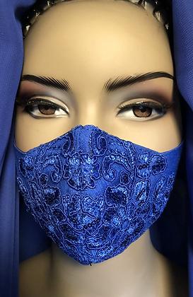 Royal  Blue Sequin Lace Mask