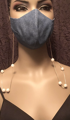 Pearl &  Gold Mask Chain/ Pendant