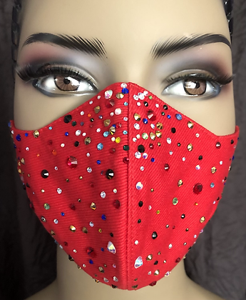 Red  Mask w/ Rhinestones