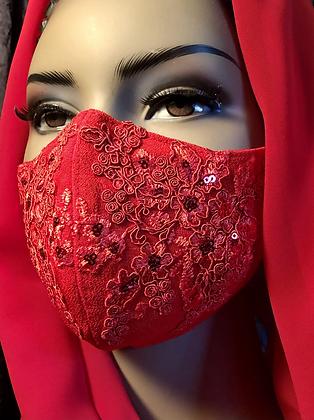Red Lace Appliqué Mask