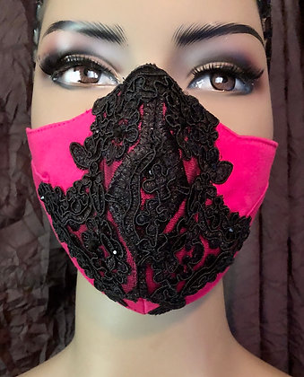 Hot Pink with Black Lace Applique