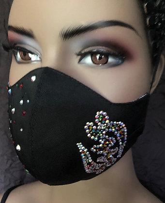 Black Mask w/ Rhinestones Adinkra Symbol