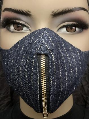 Pinstripe Denim Zipper Mask