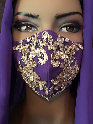 Purple Mask with Gold Beaded Lace