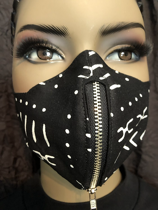 Mud Cloth  Print Vertical Zipper Mask