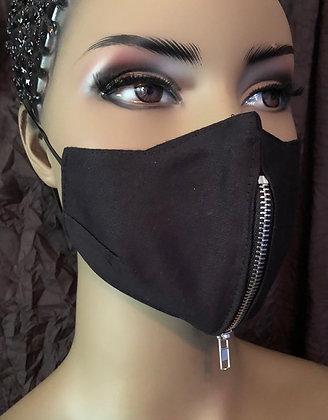 Black Vertical Zipper Mask